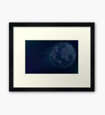 Sci-fi technologies global network with world map Framed Print