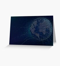 Sci-fi technologies global network with world map Greeting Card