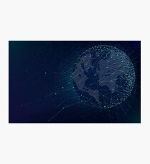 Sci-fi technologies global network with world map Photographic Print