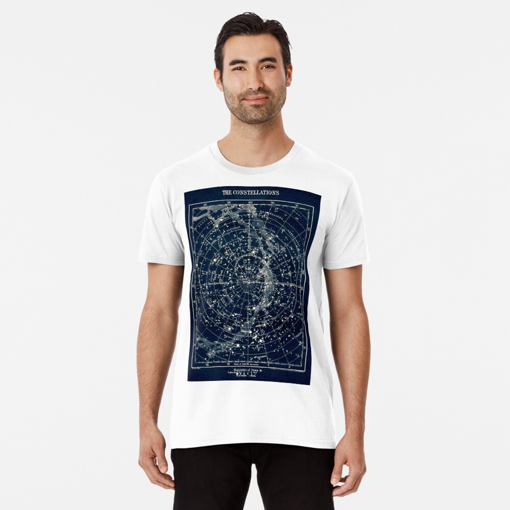 THE STAR CONSTELLATIONS : Vintage 1900 Galaxy Print Premium T-Shirt