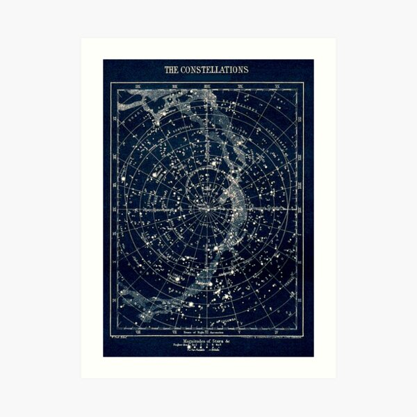 THE STAR CONSTELLATIONS : Vintage 1900 Galaxy Print Art Print