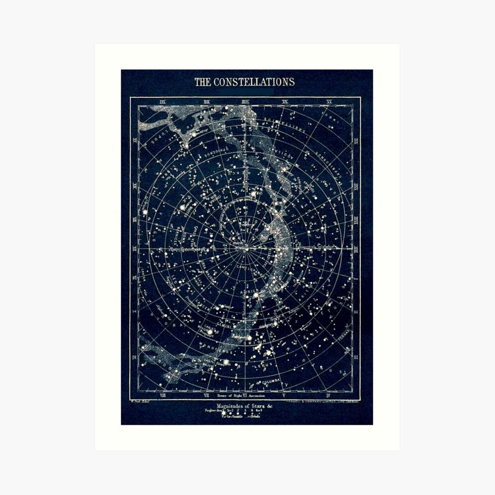 DIE STERN-KONSTELLATIONEN: Weinlese-Galaxie-Druck 1900 Kunstdruck