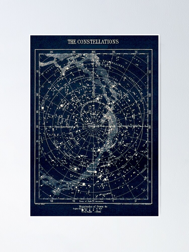 Alternate view of THE STAR CONSTELLATIONS : Vintage 1900 Galaxy Print Poster