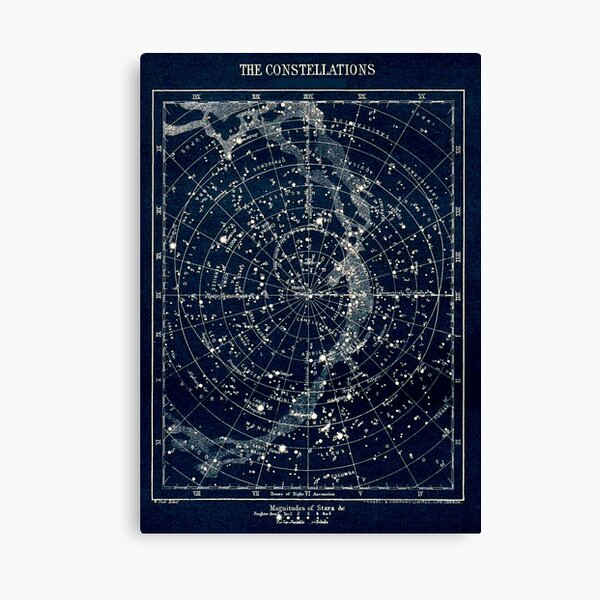 THE STAR CONSTELLATIONS : Vintage 1900 Galaxy Print Canvas Print