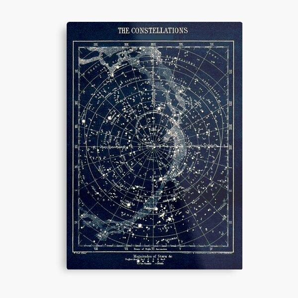 LAS CONSTELACIONES DE LA ESTRELLA: Vintage 1900 Galaxy Print Lámina metálica
