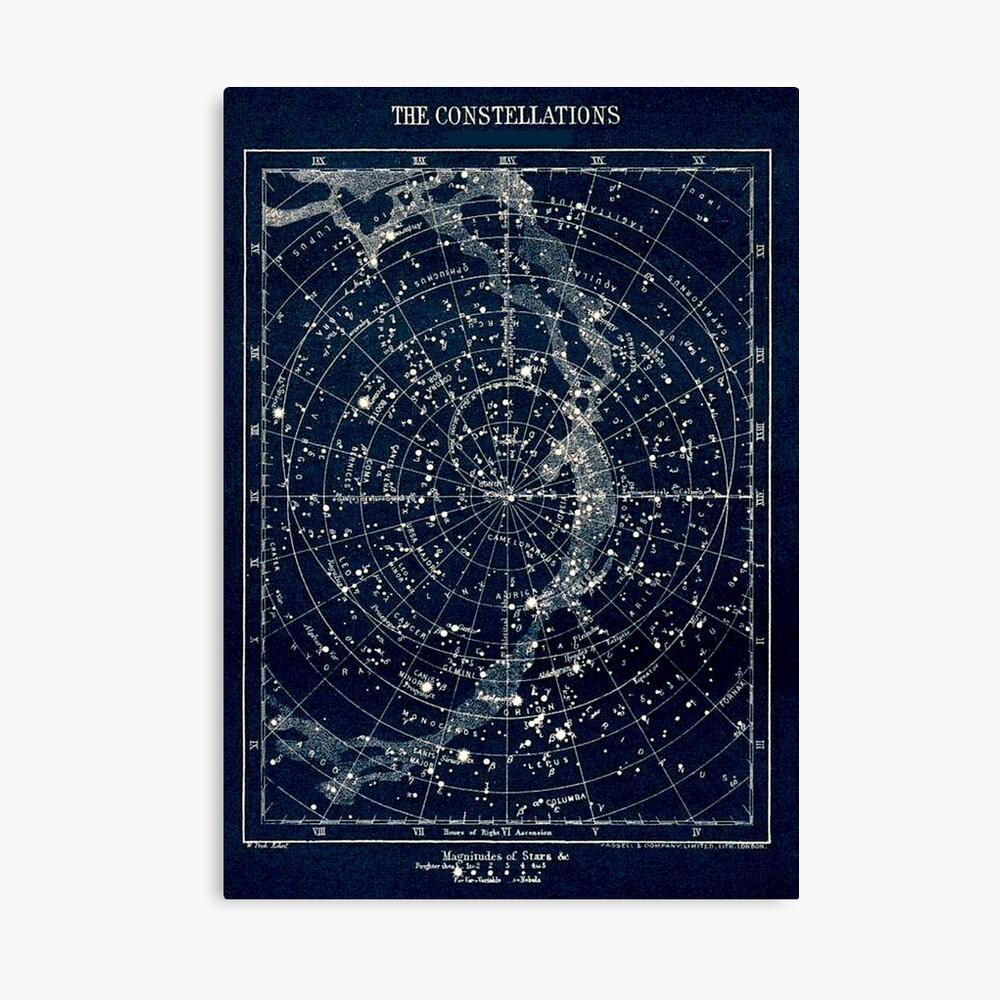 DIE STERN-KONSTELLATIONEN: Weinlese-Galaxie-Druck 1900 Leinwanddruck