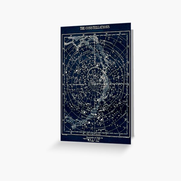 THE STAR CONSTELLATIONS : Vintage 1900 Galaxy Print Greeting Card