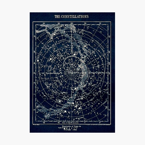 THE STAR CONSTELLATIONS : Vintage 1900 Galaxy Print Photographic Print