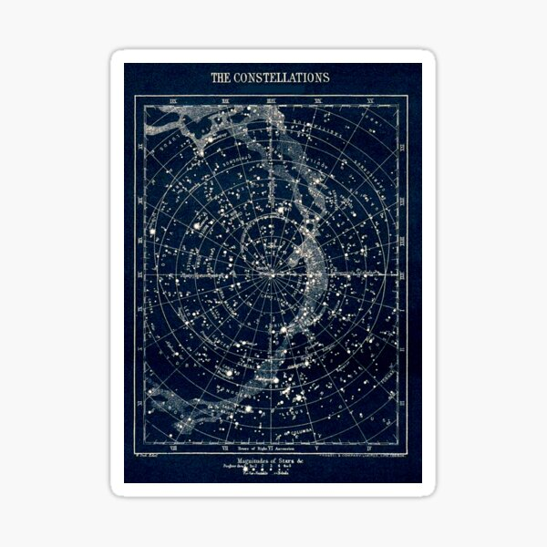 LES CONSTELLATIONS ÉTOILES: Vintage 1900 Galaxy Print Sticker