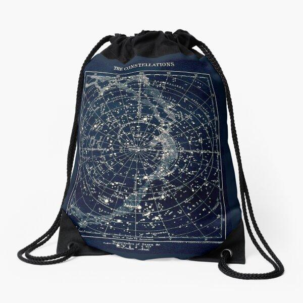 THE STAR CONSTELLATIONS : Vintage 1900 Galaxy Print Drawstring Bag