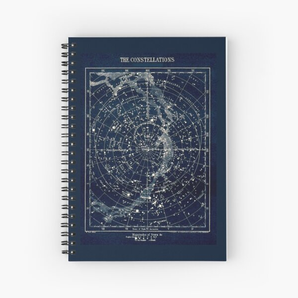 THE STAR CONSTELLATIONS : Vintage 1900 Galaxy Print Spiral Notebook
