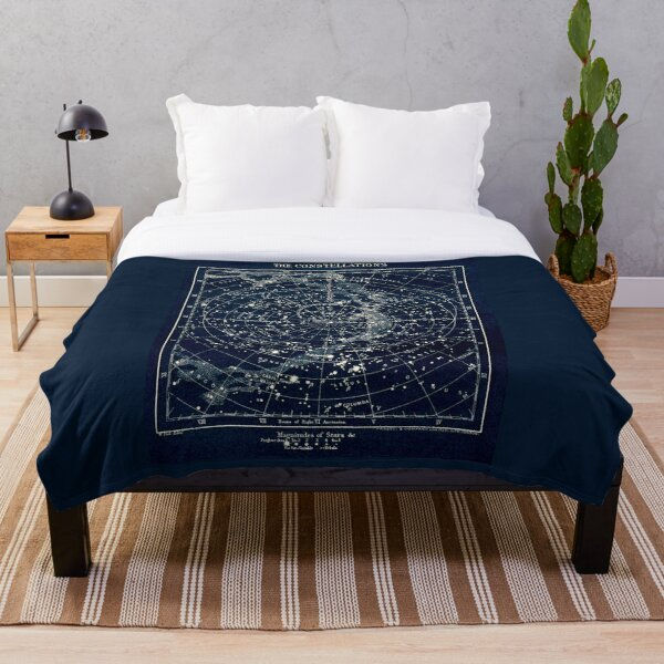 THE STAR CONSTELLATIONS : Vintage 1900 Galaxy Print Throw Blanket