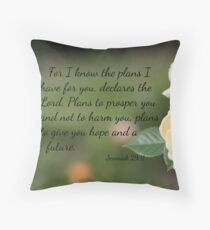Yellow Rose with Jeremiah 29:11 Throw Pillow