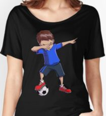 Soccer Boy Dabbing Dab Dance T shirt Funny Football Boys Tee Women's Relaxed Fit T-Shirt