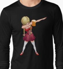 Oktoberfest Lederhosen Dabbing T Shirt Barmaid Beer Dab Long Sleeve T-Shirt