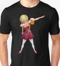 Oktoberfest Lederhosen, die T-Shirt abdrücken Barmaid-Bier-Tupfen Slim Fit T-Shirt