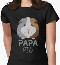 PAPA pig (guinea pig) with matching mama and baby pig Women's Fitted T-Shirt