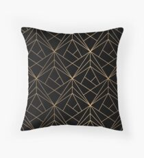 Elegant geometric copper black Throw Pillow