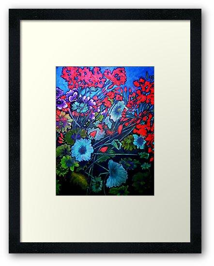 """Red Flower Garden - Oil Painting by Belinda """"BillyLee"""" NYE (Printmaker)"""
