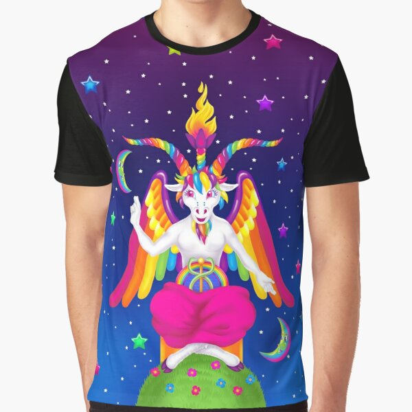 1997 Neon Rainbow Baphomet Graphic T-Shirt