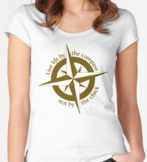 Live by the compass, not the clock Women's Fitted Scoop T-Shirt
