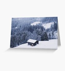 Winter Hut in the Snowy Alps Greeting Card