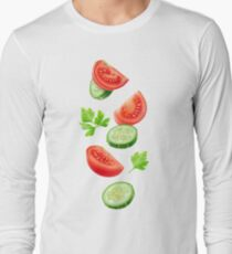 Flying vegetables Long Sleeve T-Shirt