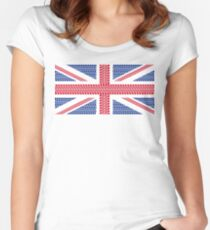 Tire track Union Jack British Flag Women's Fitted Scoop T-Shirt