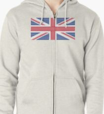 Tire track Union Jack British Flag Zipped Hoodie