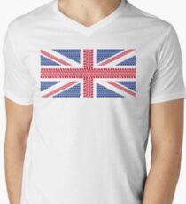 Tire track Union Jack British Flag Men's V-Neck T-Shirt