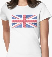 Tire track Union Jack British Flag Women's Fitted T-Shirt