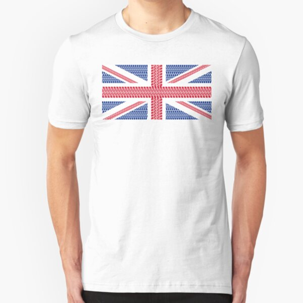 Tire track Union Jack British Flag Slim Fit T-Shirt