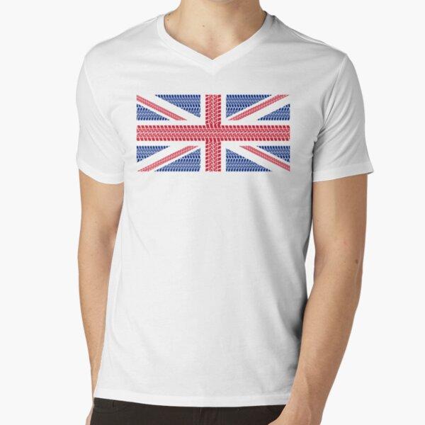 Tire track Union Jack British Flag V-Neck T-Shirt