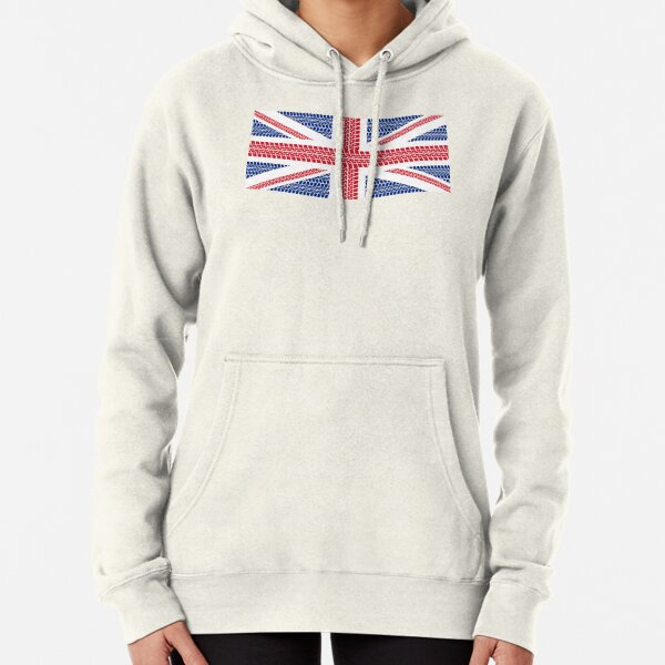 Tire track Union Jack British Flag Pullover Hoodie