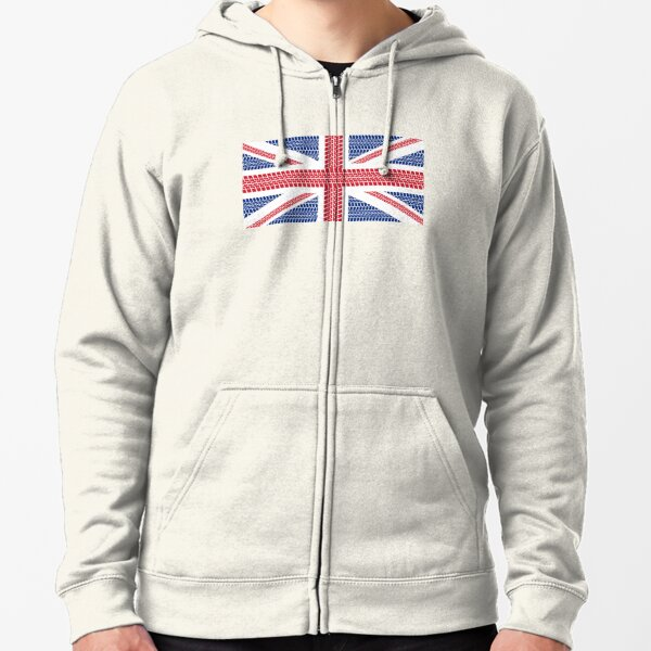Tire track Union Jack British Flag Zipped Hoodie