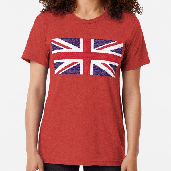 Tire track Union Jack British Flag Tri-blend T-Shirt
