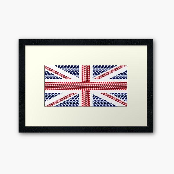 Tire track Union Jack British Flag Framed Art Print