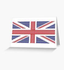 Tire track Union Jack British Flag Greeting Card