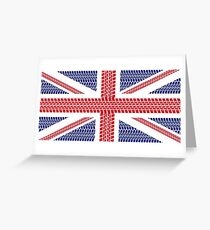 Tire track Union Jack British Flag Greeting Card