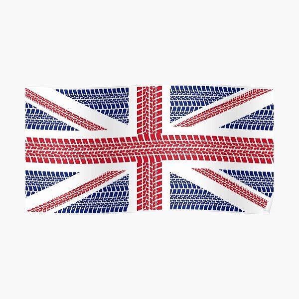 Tire track Union Jack British Flag Poster