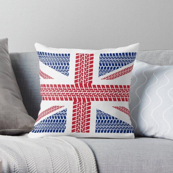 Tire track Union Jack British Flag Throw Pillow