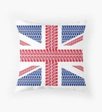Tire track Union Jack British Flag Throw Pillow