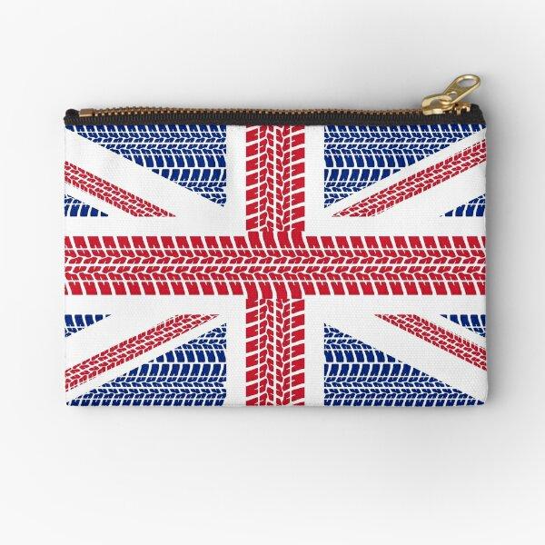 Tire track Union Jack British Flag Zipper Pouch