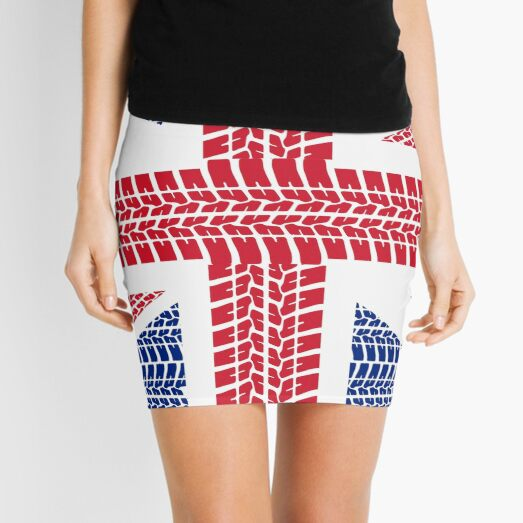 Tire track Union Jack British Flag Mini Skirt