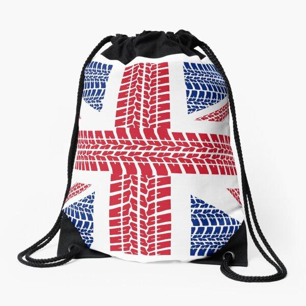Tire track Union Jack British Flag Drawstring Bag