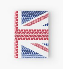 Tire track Union Jack British Flag Hardcover Journal