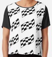 Checkered racing flag, seamless pattern Chiffon Top