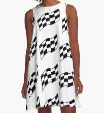 Karierte Rennflagge, nahtloses Muster A-Linien Kleid