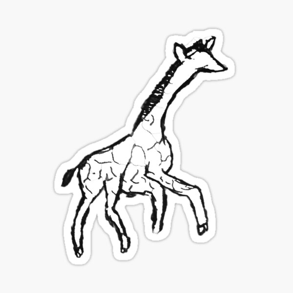 Minimalist Giraffe Ink Drawing Sticker