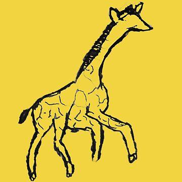 Minimalist Giraffe Ink Drawing by cephasgarrett